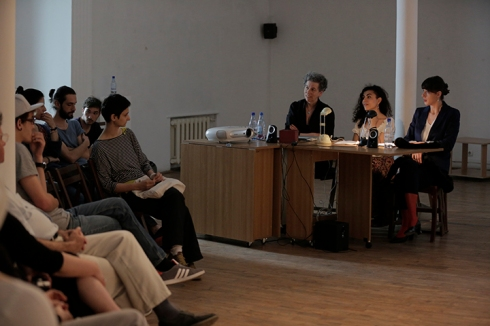 Discussion UNA Galleria with actress and playwright, Mihaela Dragan and artists Delia Popa and Ellen Rothenberg